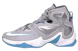 Nike Men\'s Lebron XIII, WOLF GREY/WHITE-BLUE LAGOON-DARK GREY, 8.5 M US