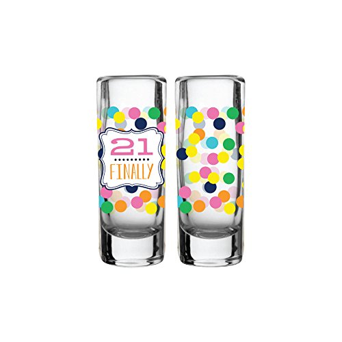 """21 Finally"" Birthday Bash Shot Glass Set Of 2"