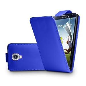 Blau Leder Tasche Hülle Samsung Galaxy S4 (GT-i9500 / i9505 LTE / i9502 Duos / Google Edition / S4 Value Edition GT-i9515 / SCH-I959) - Flip Case Cover + 2 Displayschutzfolie