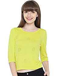 Wills Lifestyle Lime Green Winter Top(WSWFTSS160007) (Small)