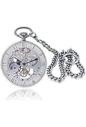 Catorex Men's 183.2.1679.000 Armand Cattin Automatic Sterling Silver Roman Numerals Exhibition Pocket Watch