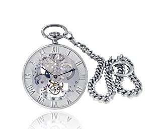 Catorex Men's 183.2.1679.000 Armand Cattin Automatic Sterling Silver Roman Numerals Exhibition Pocket Watch