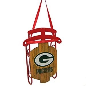 Green Bay Packers Official NFL 3.5 inch Metal Sled Christmas Ornament
