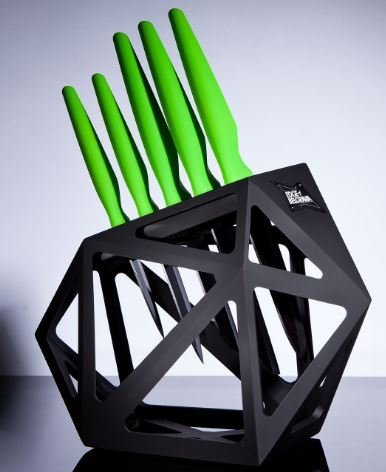 Knife Block Set With 5 Piece Ceramic Kitchen Knives | Universal Stand Holder with Chefs, Paring, Slicer, Santoku and Utility