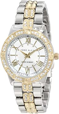 Anne Klein Women's 10/9721MPTT Swarovski Crystal Accented Two-Tone Bracelet Watch