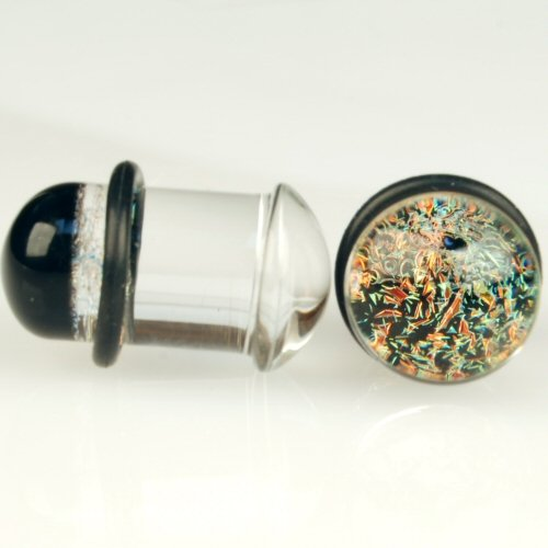 Pair of Glass Single Flared Two Color Foil Galaxy Plugs: 3/4