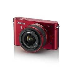 Nikon 1 J1  Digital Camera System with 10-30mm Lens (Red) (OLD MODEL)