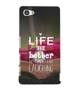 EPICCASE Life & Laugh Quote Mobile Back Case Cover For Sony Xperia Z5 Mini / Z5 Compact (Designer Case)