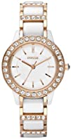 Fossil Womens CE1041 Jesse White Ceramic Rose Gold Tone Watch
