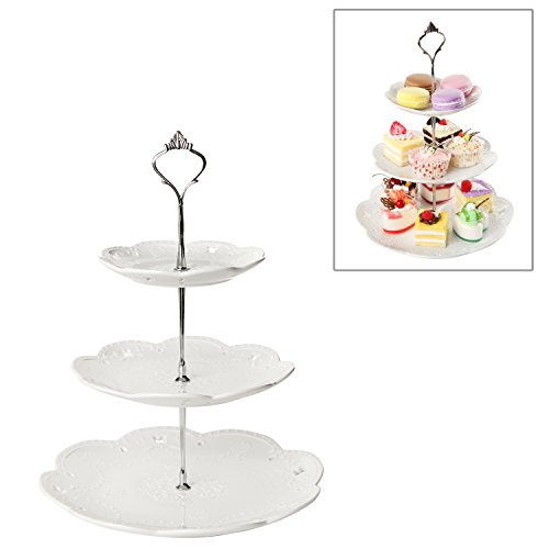 Decorative 3 Tier White Ceramic & Metal Elegant Dessert Stand