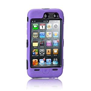 NTK Premium For iTouch iPod Touch 4 4G Silicone Case with Hard Shell Inside Case With Built In Touch Screen Protector Film 2 Layer Case -Purple