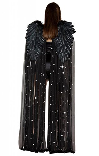 Feather And Sheer Rhinestone Black Angel Wings Halloween Accessory