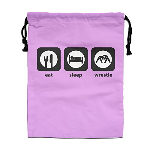 Eat Sleep Wrestling Drawstring Pouch Bags-popular Drawstring Bags High Quality Fashion Durable Jewelry Festival Gift - Height:40cm Wide: 30cm
