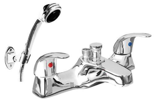 Chrome Lever Style Bath Shower Mixer Tap, BSM Bath Taps, Hand Held Shower