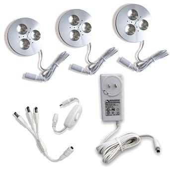 Cree LED Puck Light, 3 Fixture Kit, Warm White, Aluminum Finish