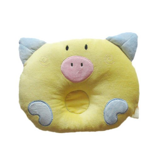Soft Cotton Piggy Pig Shaped Baby Newborn Infant Toddler Sleeping Support Pillow Prevent Flat Head Flathead Gift (Yellow) front-3281