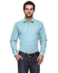 Ausy Light Blue and Light Green Cotton Blend Mens's Shirt