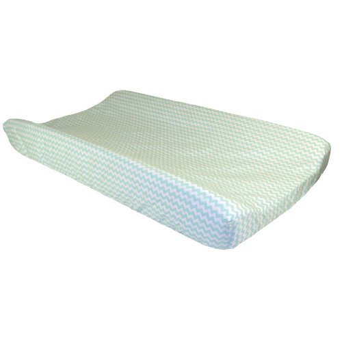 Trend Lab White Chevron Print Changing Pad Cover, Mint Green