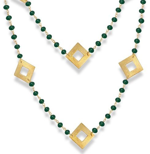 "18 Karat Gold Overlay 18"" 12 Carat Green Onyx Square Design Chain Necklace"