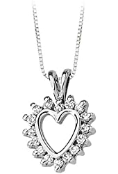 14K Yellow/White Gold 1/3 ct. Diamond Heart Pendant with Chain