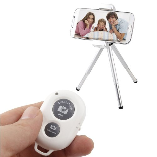 Sunnice® Bluetooth Wireless Remote Control Camera Shutter Release Self Timer For Iphone 5 5S 5C 4S 4, Ipad 5 4 3 Ipad Air Mini, Samsung Galaxy S4 S3 Note 3 2, Android Phone (White)