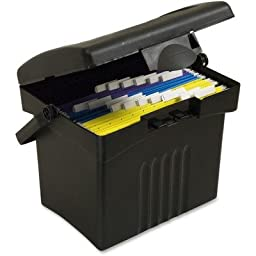 Storex Economy Portable File Box for Letter Size Hanging Files, Black (61502U01C)