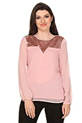 Oyshi Women's Embellished Top (DP1017L, Pink, Large)