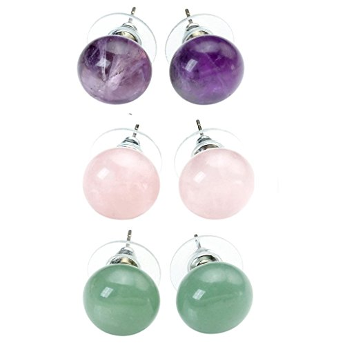 JOVIVI Womens Natural Amethyst Aventurine Rose Quartz Agate Round Abacus Crystal Beads Chakra Pendant Stud Earrings (Crystal Point Earrings compare prices)