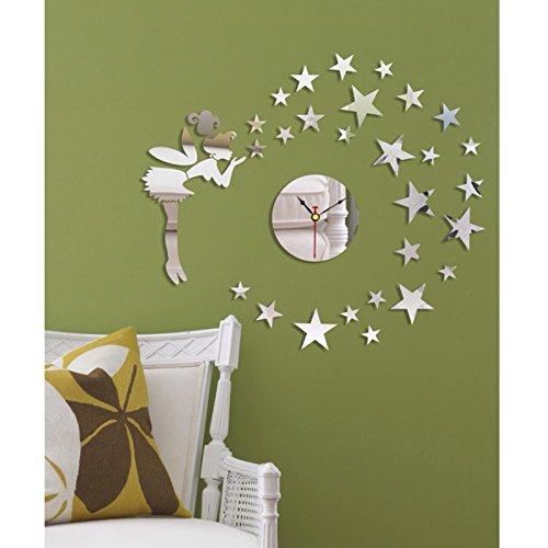 Dupin Llc (Tm) Silver Beautiful Elegant Angel Stars Wall Clock Mirror Modern Design Removable Diy Acrylic 3D Mirror Wall Decal Wall Sticker Home Decoration