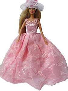 226 - Pink Layered Lace Barbie Sindy Doll Sized 3 piece Ball Gown Princess Fairy Tale Wedding Dresses: Dress, Gloves & Hat (Doll not included, Not Mattel) by Fat-Catz