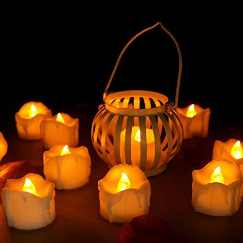Youngerbaby 24pcs Amber Yellow No Flicker Wax Dripped Unscented Small Battery Operated Led Flameless Candles for Centerpieces, Wedding and Party Decoration (24pcs Wax Dripped Led Candles -No Flickering Yellow)