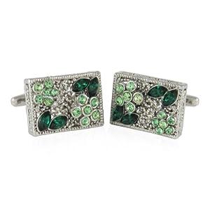 Cuff-Daddy Filigree Emerald Green & Period Crystal Cufflinks