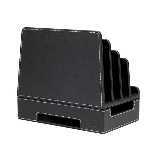Charging Station Docking Organizer Slim Black Faux Leather