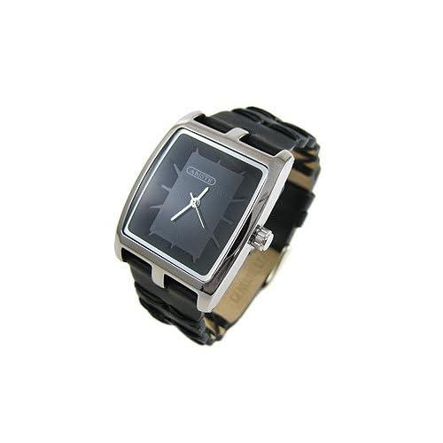 [アビステ]ABISTE デザインフェイスベルト時計/ブラック 9900026S/B