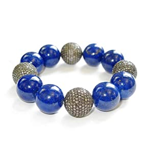 Sterling Silver Natural Lapis Beaded Cord Bracelet Diamond Party Jewelry
