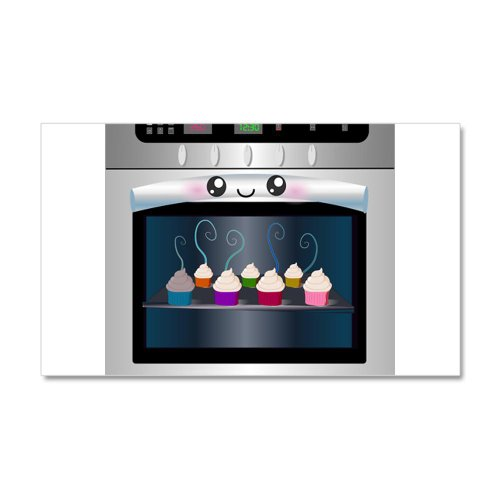Cute Happy Oven With Cupcakes 20X12 Wall Decal By Cafepress