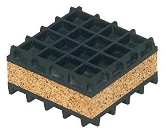 "Mason NK3X3 Neoprene Waffle and Cork Sandwich Vibration Isolation Pad, 3"" Length x 3"" Width x 1"" Thick"