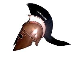 MEDIEVAL CORINTHIAN ARMOR HELMET W/BLACK PLUME REPLICA COPPER FINISH
