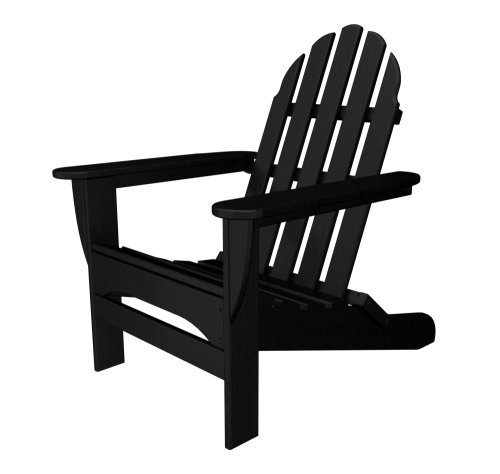 Polywood Outdoor Furniture Classic Adirondack Chair, Black-Recycled Plastic Materials