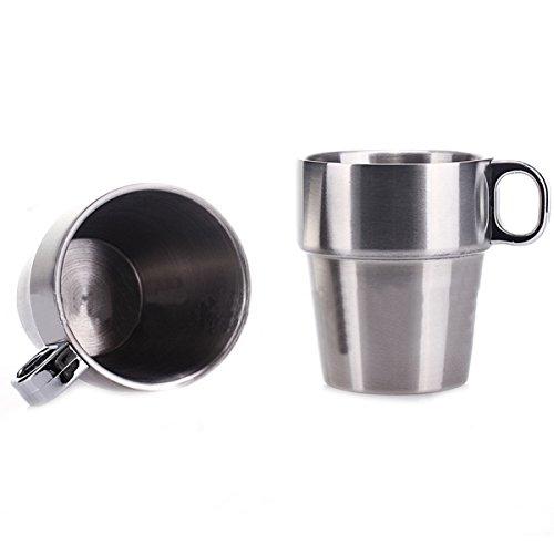 Sunday&May European Style 6 Stainless Steel Double-Deck Heatproff Tea Coffee Cup Set