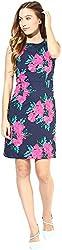 AVIRICH Women's Dress (Navy Blue & Pink, XL)