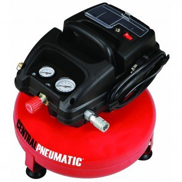 1/3 Horsepower 3 Gallon 100 PSO Oilless Pancake Air Compressor by CENTRAL PNEUMATIC At The Neighborhood Corner Store (Color: Red)