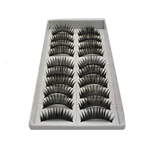 10 Pair Long Black False Eyelashes Eye Lashes Makeup