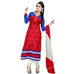 Fabfirki Red and White Unstitched Cotton Salwar Suit