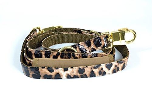 BELLOMANIA Vegan Leather Adjustable Dog Leash, Large, Leopard, Taupe