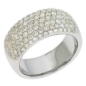 14k White Pave 1.47 Ct Diamond Band Ring - Size 7.0 - JewelryWeb