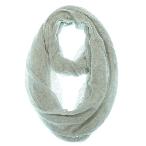 Handbyhand® Cotton Elegant Soft Touch Light Weight Thin Loop Infinity Scarf, Light Heather Gray