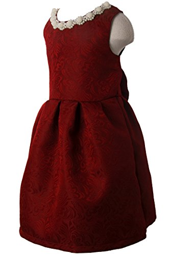Ipuang Little Girls' Lovely Pattern Dresses for Special Occasions 6 Bright Red