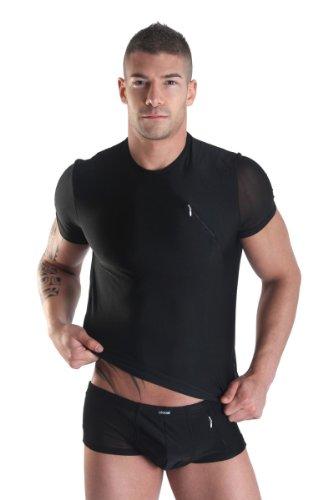 Dessous Sexy Herren T-Shirt mit Zip schwarz Reizwäsche Erotik-wear