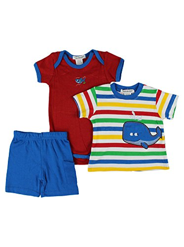 Alfa Global Baby Boy'S Infant Striped Shirt Bodysuit And Short 3Pcs. Set 3-6 Months front-342214